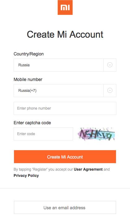 как зарегистрировать mi аккаунт