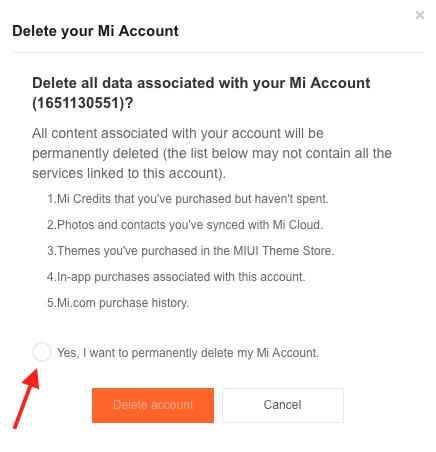 удалить ми аккаунт