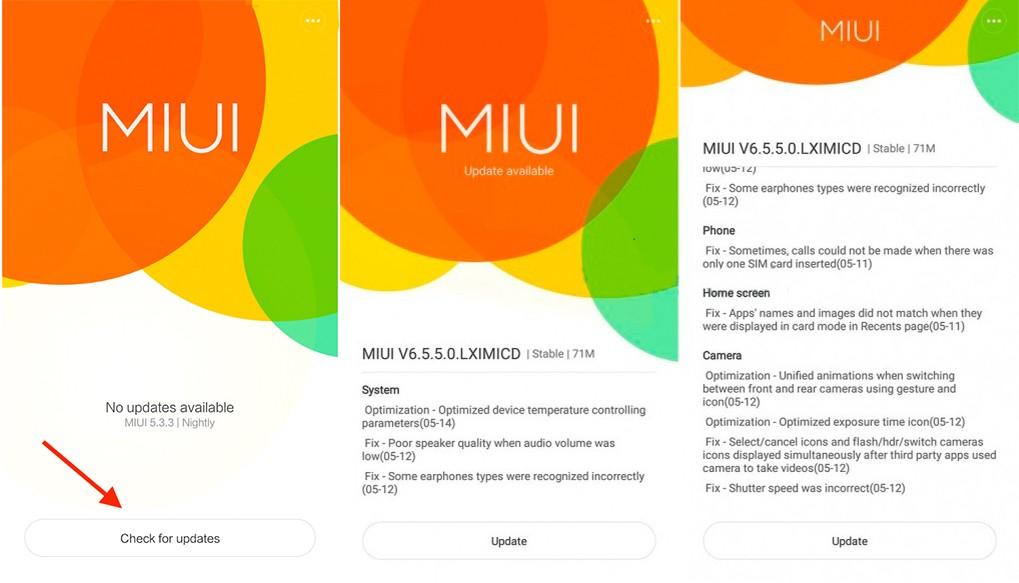 Проверка обновления на Xiaomi Redmi 3S и Xiaomi Redmi Note 2