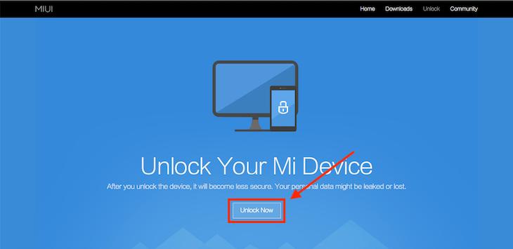 Официальная страница разблокировки загрузчика Xiaomi